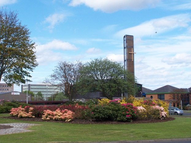 Other side of Glenrothes town centre. Fife House in the distance: across the roundabout, St Columba's church